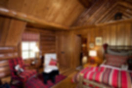 Northwoods Wisconsin full log lodge home guest bedroom