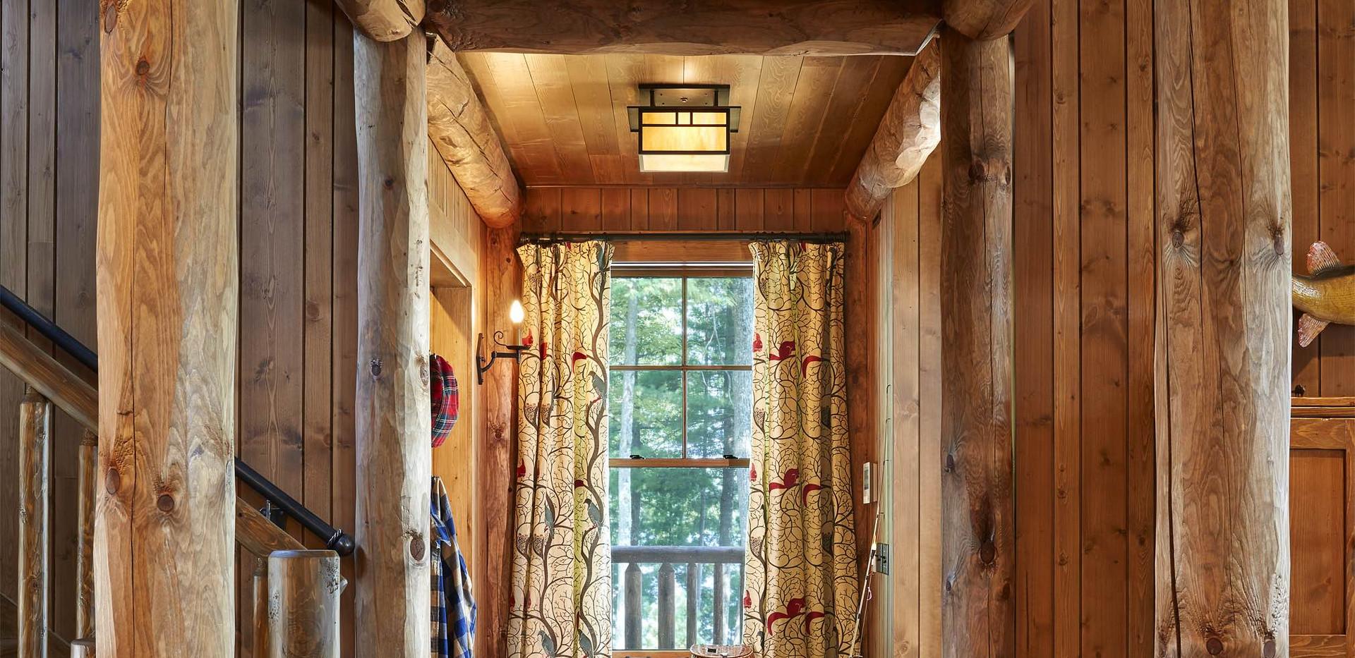 Traditional Log Beam Cabin Interior