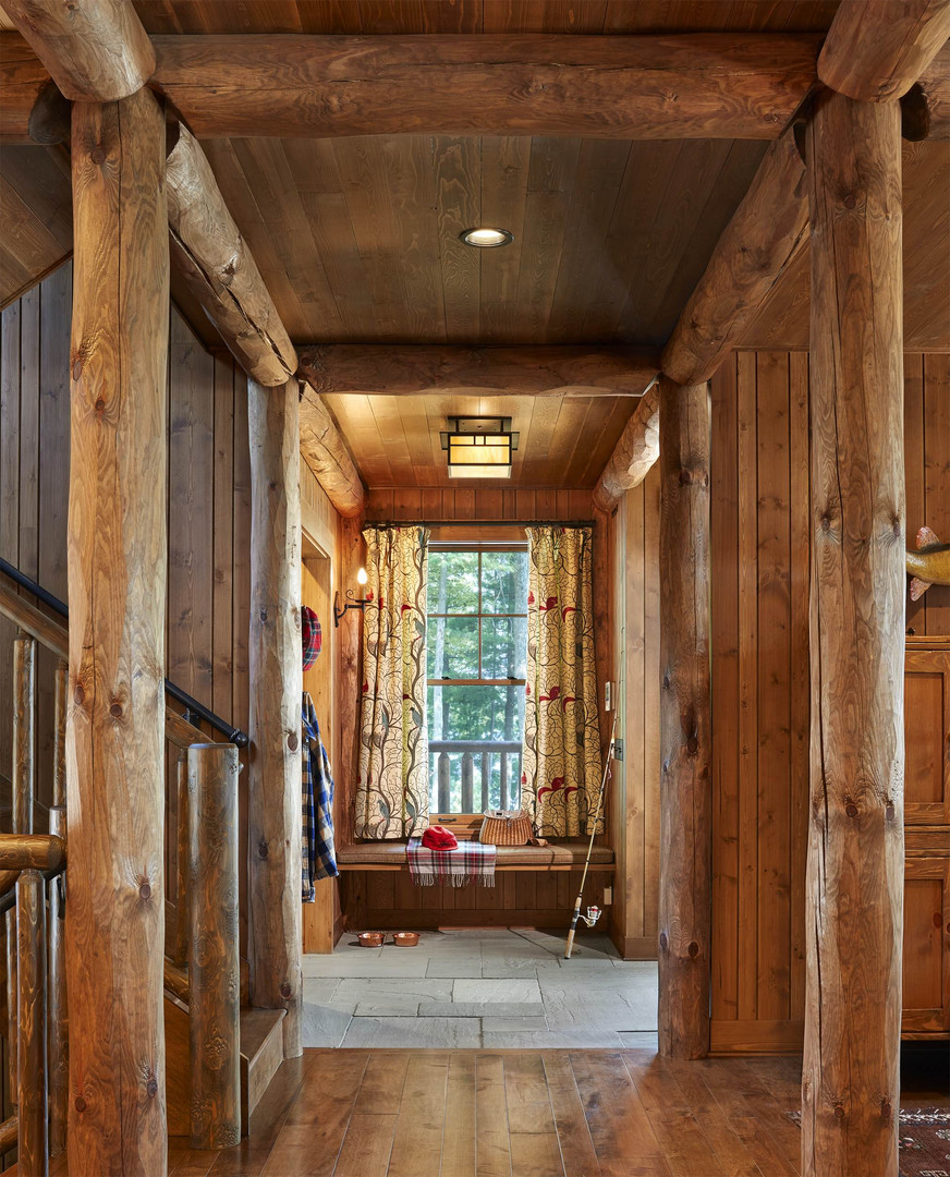 Traditional Log Beam Cabin Interior