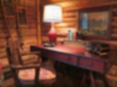 Log cabin hickory work desk with antique desk chair