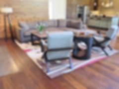 New Moon multi color rug on Mafi wood flooring