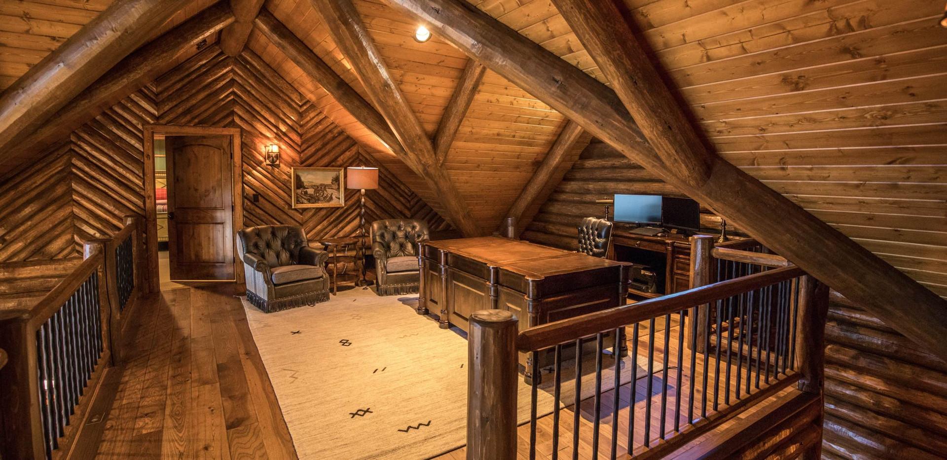 Traditional Log Home Upper Loft Office
