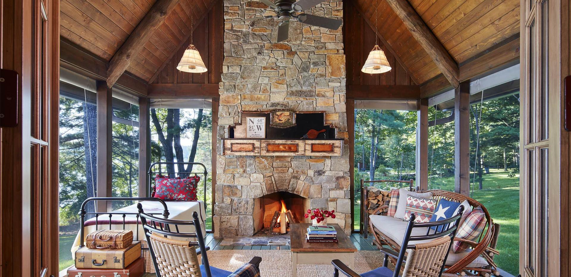 Traditional-Lake Home Cabin Screen Porch