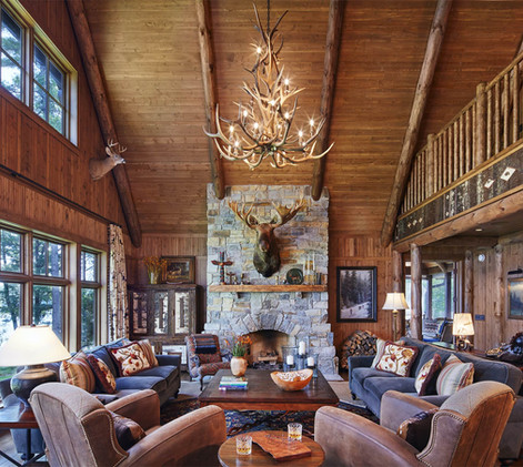 Traditional Timber Frame Log Beam Great Room