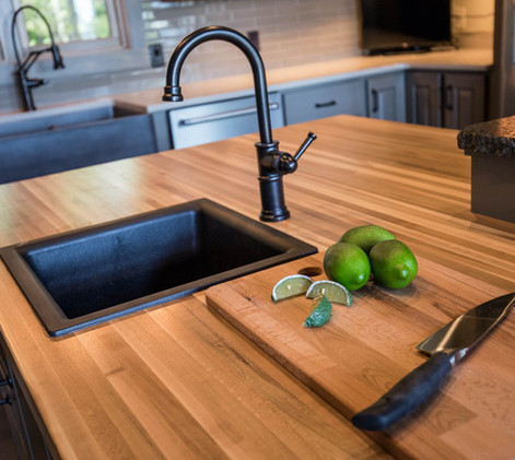 Contemporary lake home Kitchen detail