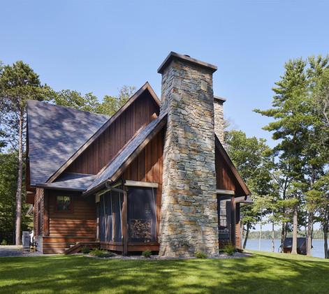 Traditional Cabin Full Masonry Fireplace