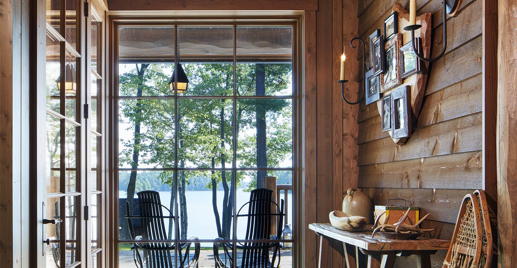 Traditional Lake Front Cabin Entry