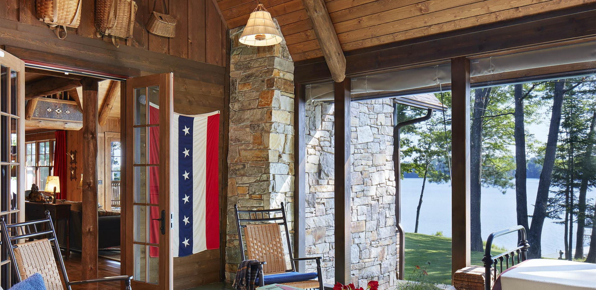 Traditional Lake Front Cabin Screen Porch Design
