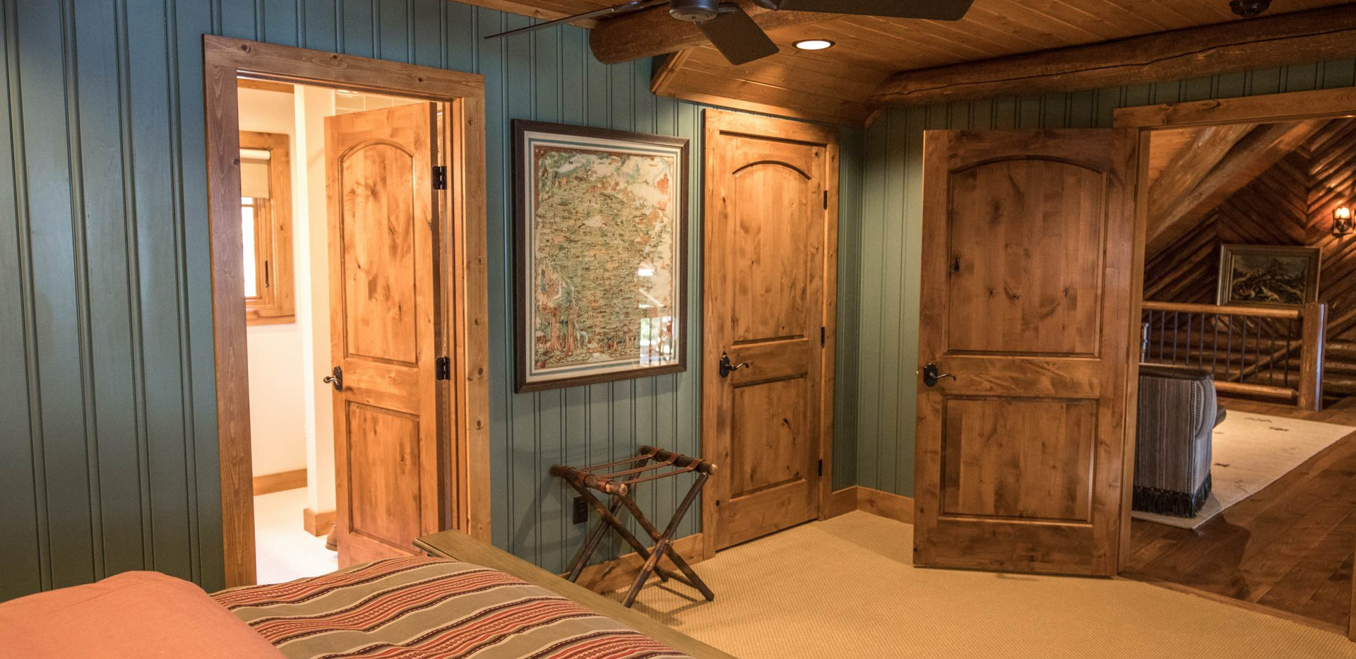 Traditional Log Home Guest Room Millwork