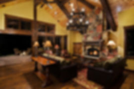 Traditional Colorado mountain home great room furniture