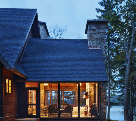 Traditional Lake Cabin Screen Porch