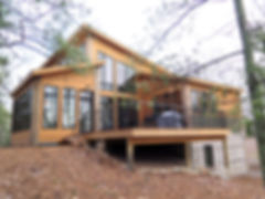 Northwoods modern lake house deck porch