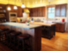 Two island kitchen with soapstone and butcher block counter tops