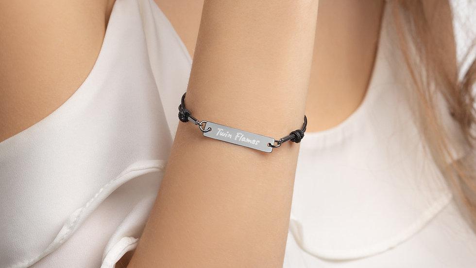 Twin Flames - Engraved Silver Bar String Bracelet