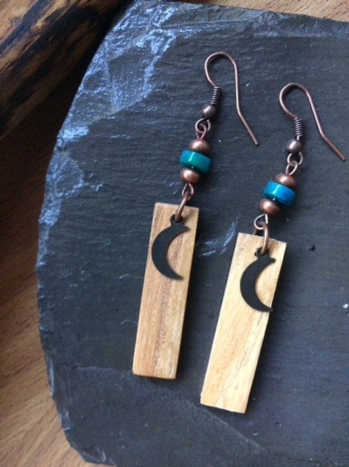 Pretty Irish Ash Earrings with crysocolla heishi beads.