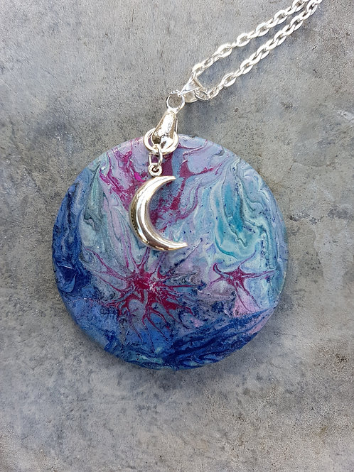 Heavenly Moon Hand-painted Wooden Pendant