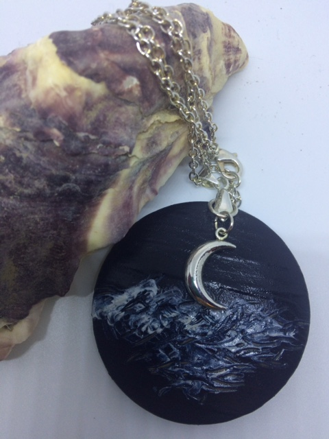 Night Sea and Moon Pendant