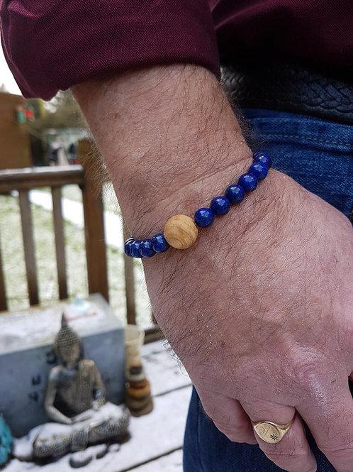 Lapis Lazuli and Irish Ash Wood Bracelet