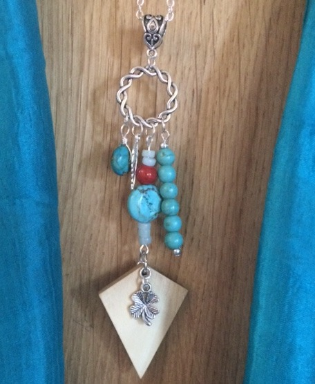 Boho Ash and Bead Pendant
