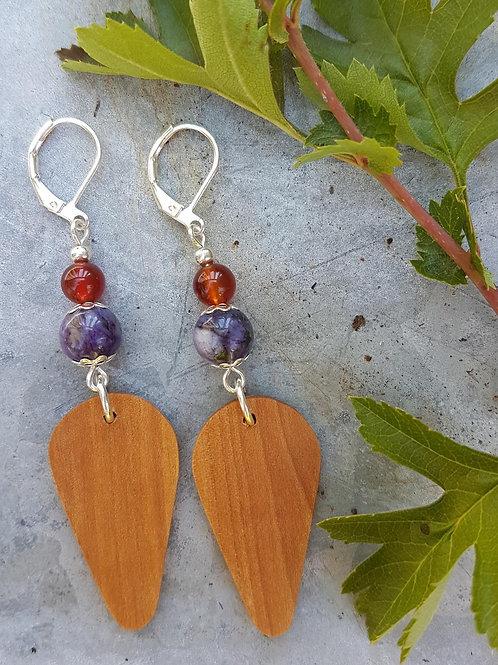 Pretty Irish Hawthorn Wood and Gemstone Earrings