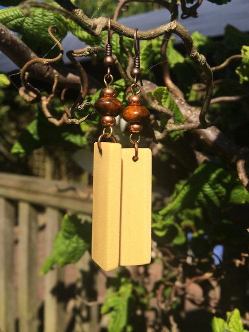 Irish Elder Wood Earrings with Orange Malachite Beads