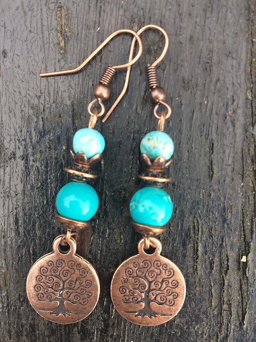 Lovely Turquoise and Copper Tree of Life Earrings