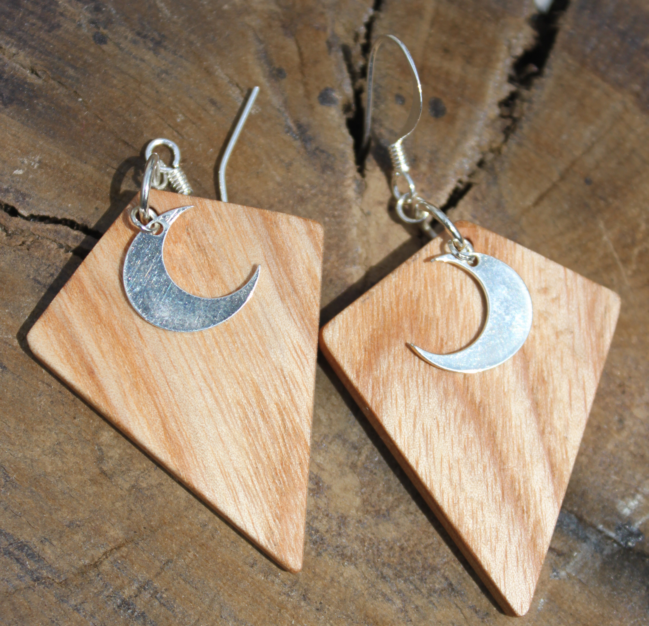 Irish Ash and Silver Moon Earrings