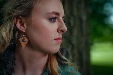 Irish wooden elm earrings with silver moon