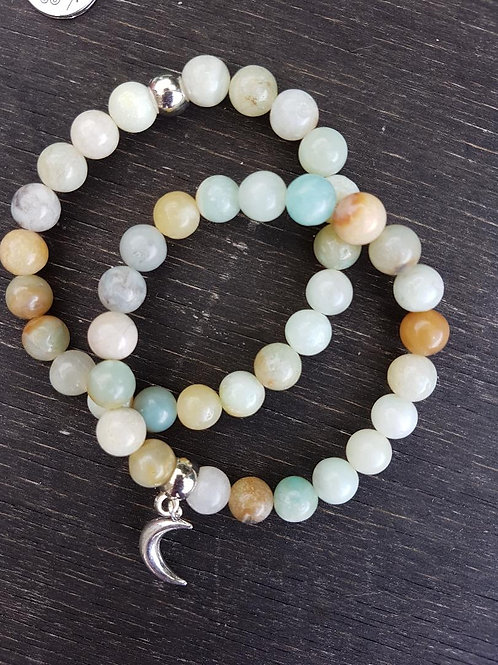 Pretty Amazonite double bracelet with Silver Moon Charm