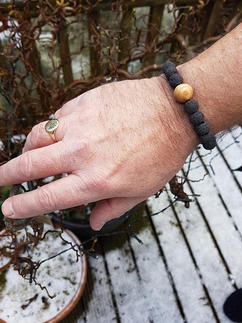 Irish Ash Wood and Lava Rock Bead Bracelet