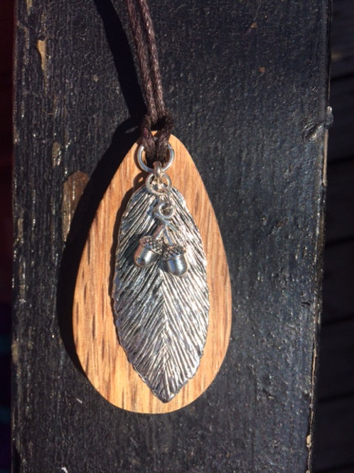 Irish Oak Pendant Necklace with Silver Feather and Acorn charms.