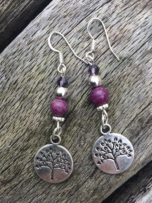 Pretty in purple Tree of Life earrings