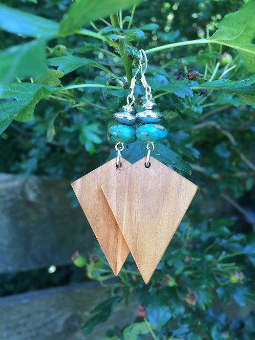 Wonderful Irish Ash Dangle Earrings with Turquoise and Silver Rondelle Bead.