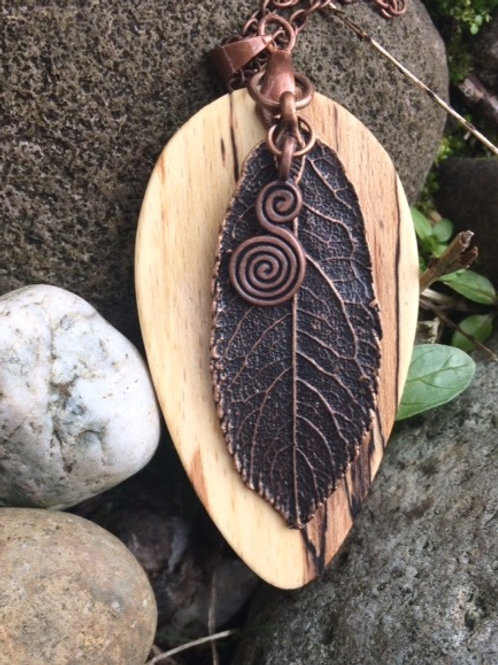 Irish Beech pendant necklace with Copper Leaf and Celtic Spiral.