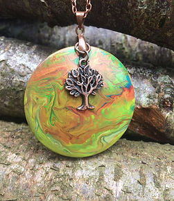 Handpainted wooden pendant necklace with copper tree of life