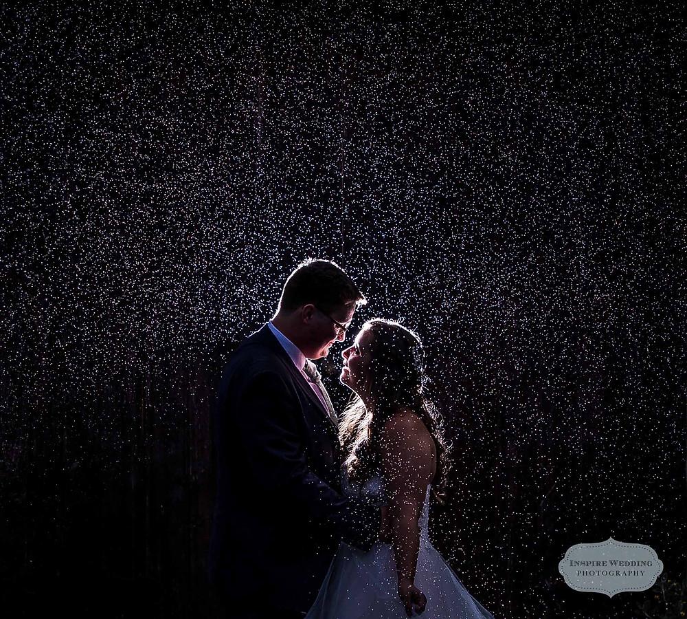 Rain, wedding photography, creative