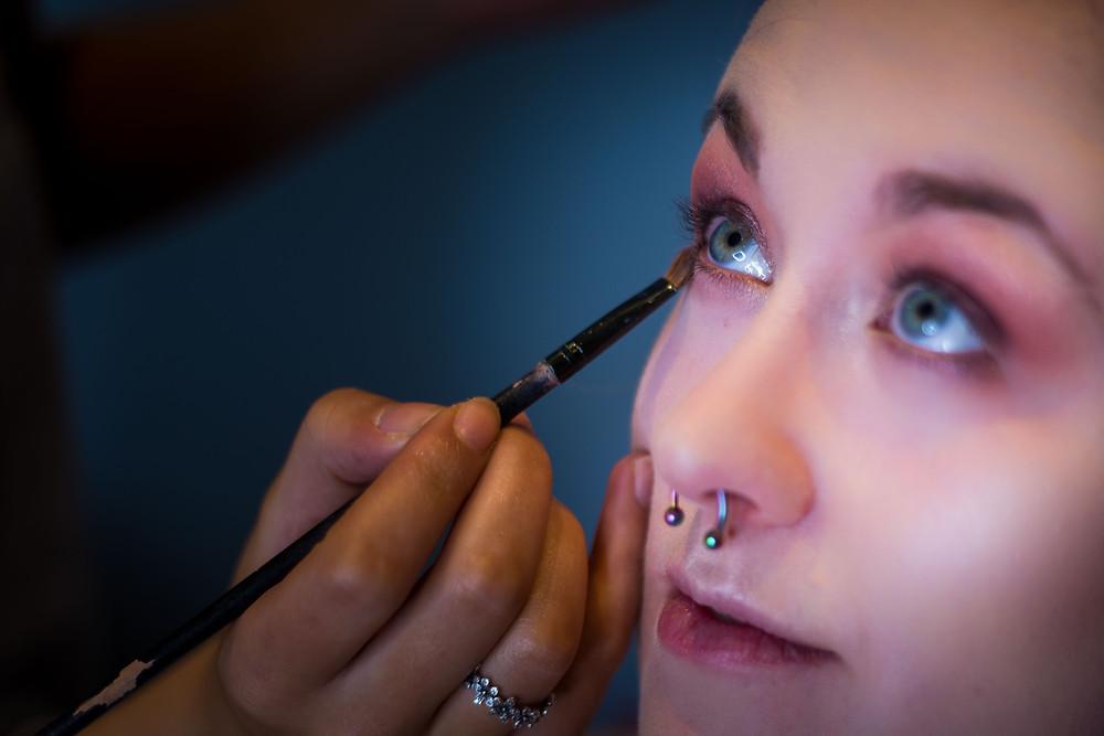 Bride in Congleton has wedding make up applied