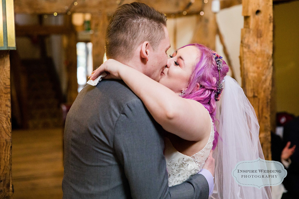 Happy couple kiss, north west wedding photographer.