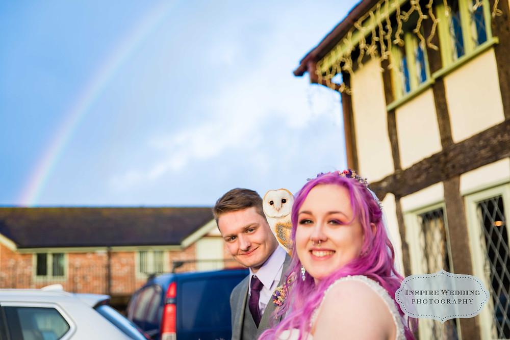 Bride, groom, Owl and a rainbow
