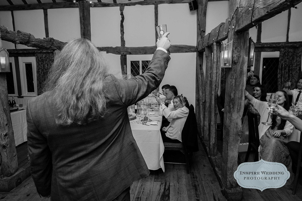 Best Man toasts the bride and groom at The Plough Inn, Eaton