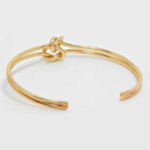 Fashionable Gold Double Knot Bracelet Beautiful Alone Or Stacked With Other Bangles