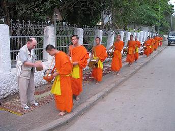 Feeding Buddhist Monks in Vientiane