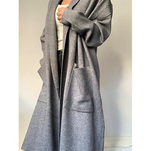 Long Knitted Coat -Grey