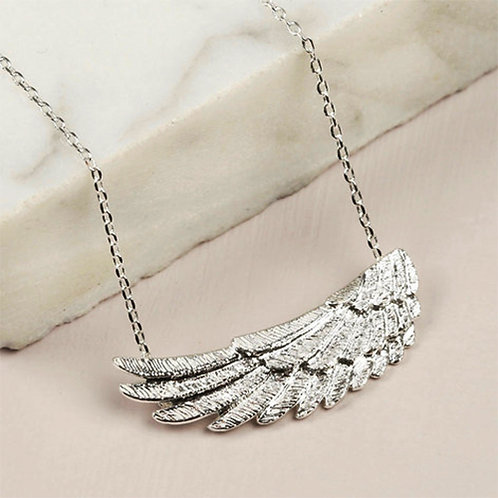 Angel Wing Pendant Necklace in Silver