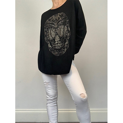 Skull Embossed Jumper - Black