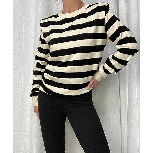 Striped Knit - Cream/Black