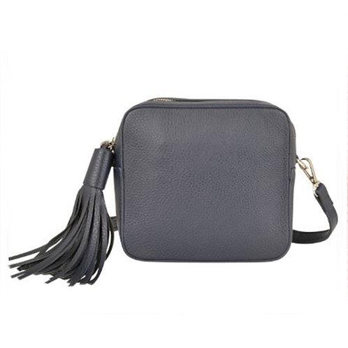 Cross Body Box Bag with Tassel - Navy