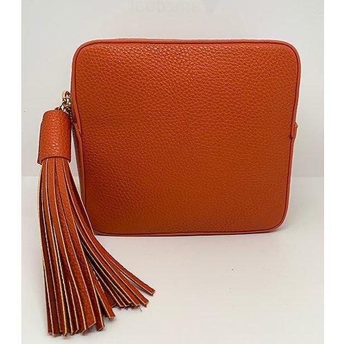 Cross Body Box Bag with Tassel - Tangerine