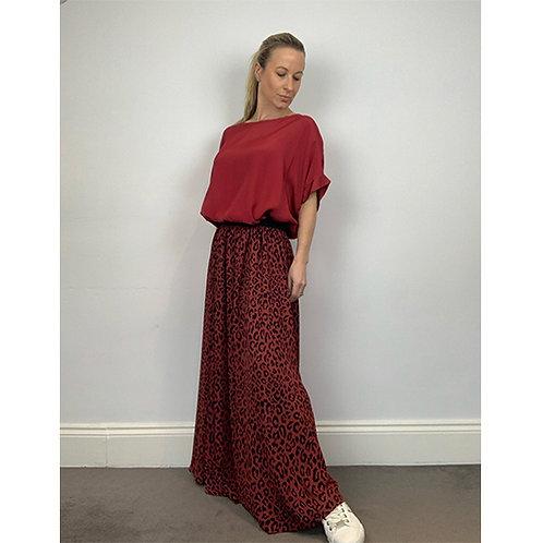 Maxi Leopard Print Skirt - Red/Black