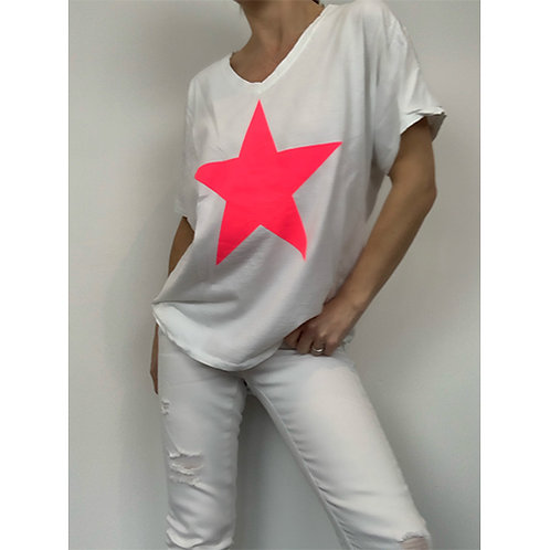 White Neon Pink Star T-shirt